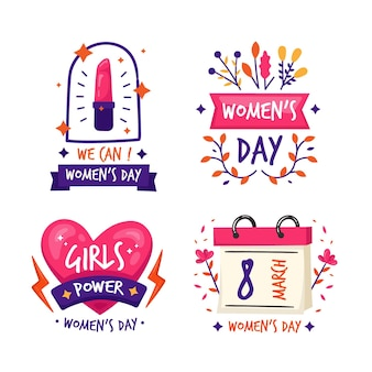 Colección de insignias del día internacional de la mujer dibujadas a mano