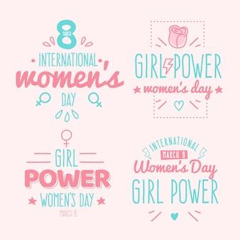 Colección de insignias del día internacional de la mujer con letras dibujadas a mano