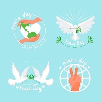 Colección de insignias del día internacional de la paz dibujadas a mano