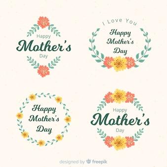 Colección de insignias del día de la madre dibujado a mano