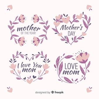 Colección de insignias del día de la madre dibujados a mano