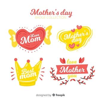 Colección de insignias del día de la madre en diseño plano