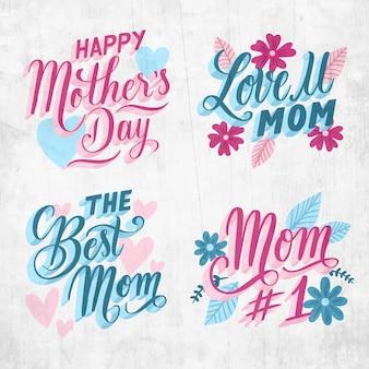 Colección de insignias del día de las madres dibujadas a mano