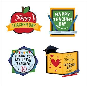 Colección de insignias del día del maestro feliz