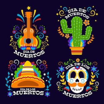 Colección de insignias del día de los muertos en diseño plano