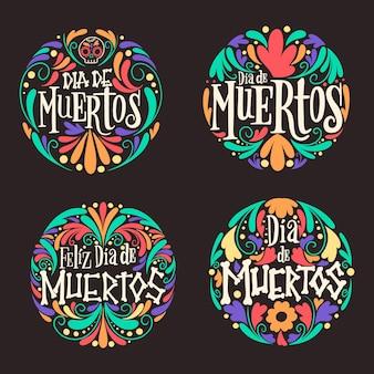 Colección de insignias de dia de muertos en diseño plano