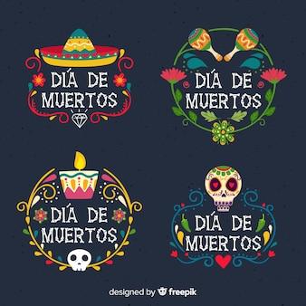 Colección de insignias del día de los muertos