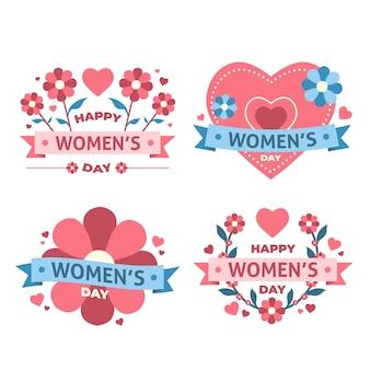 Colección de insignias de día para mujer de diseño plano