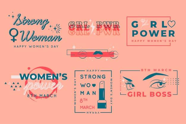 Colección de insignias para el día de la mujer en diseño plano