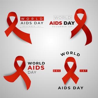 Colección de insignias del día mundial del sida con cintas rojas