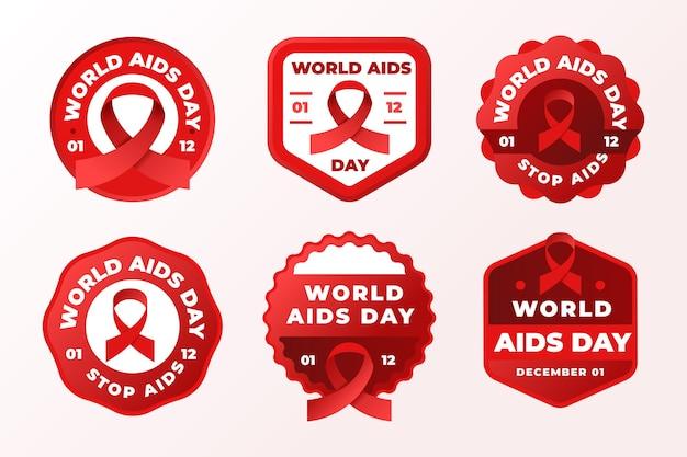 Colección de insignias del día mundial del sida.