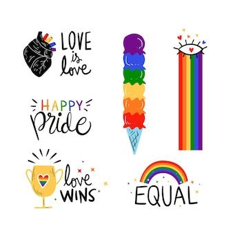 Colección de insignias del día del orgullo