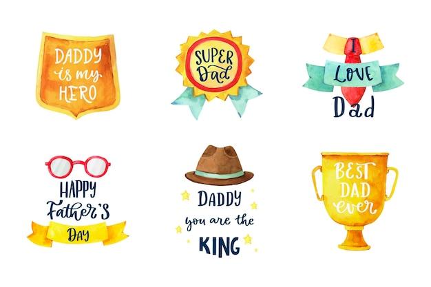 Colección de insignias del día del padre en acuarela pintada a mano.