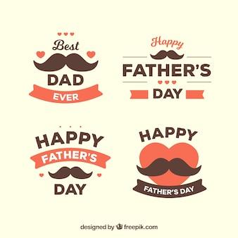 Colección de insignias de día del padre con bigotes
