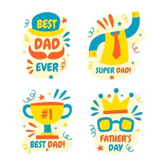 Colección de insignias del día del padre dibujadas a mano