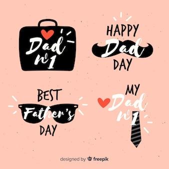 Colección de insignias del día del padre dibujado a mano