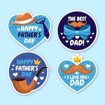 Colección de insignias del día del padre de dibujos animados