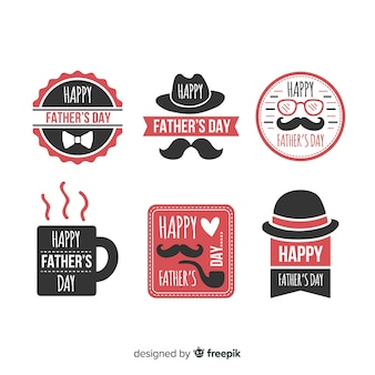 Colección de insignias del día del padre en diseño plano