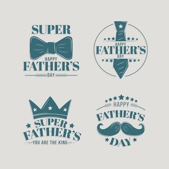 Colección de insignias del día del padre de diseño plano