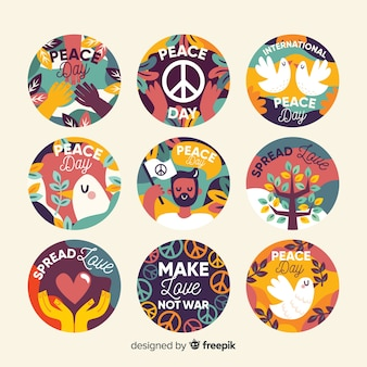 Colección de insignias del día de la paz dibujadas a mano