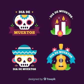Colección de insignias del día plano de los muertos