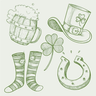 Colección de insignias del día de san patricio dibujado a mano