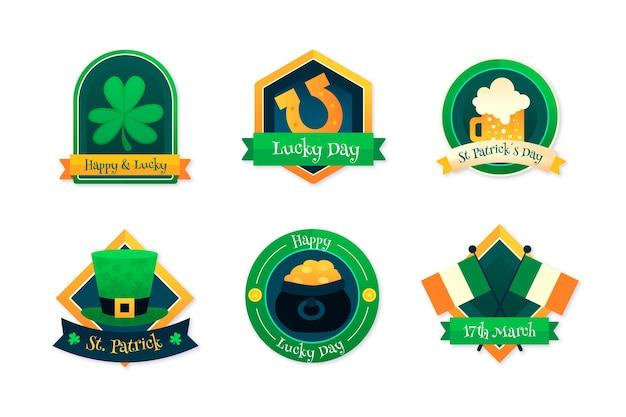 Colección de insignias del día de san patricio de diseño plano