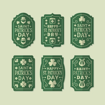 Colección de insignias del día de san patricio en estilo vintage