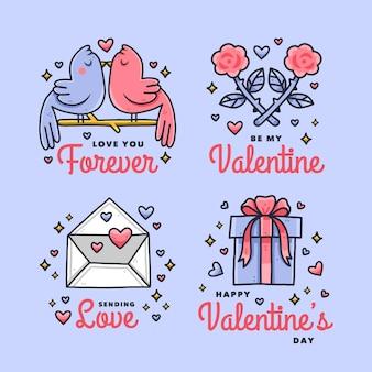 Colección de insignias del día de san valentín dibujadas a mano