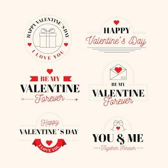 Colección de insignias del día de san valentín en diseño plano