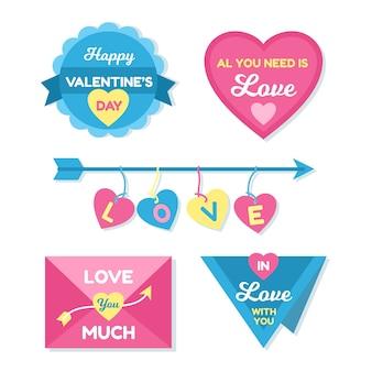 Colección de insignias del día de san valentín