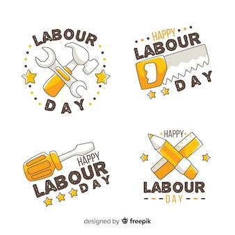 Colección de insignias del día del trabajador dibujada a mano
