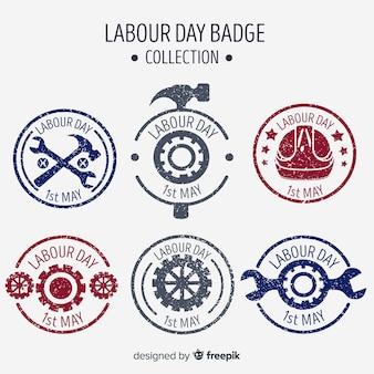 Colección de insignias del día del trabajador dibujadas a mano