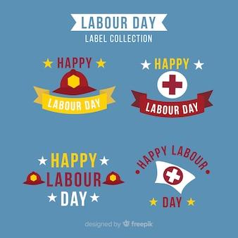 Colección de insignias del día del trabajador en diseño plano