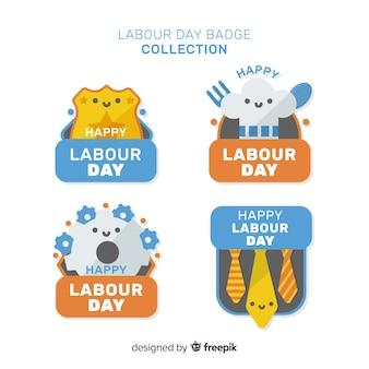 Colección de insignias del día del trabajador