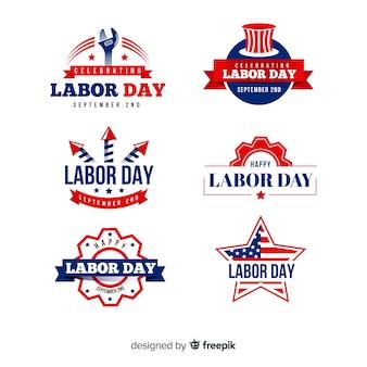 Colección de insignias del día del trabajo en diseño plano