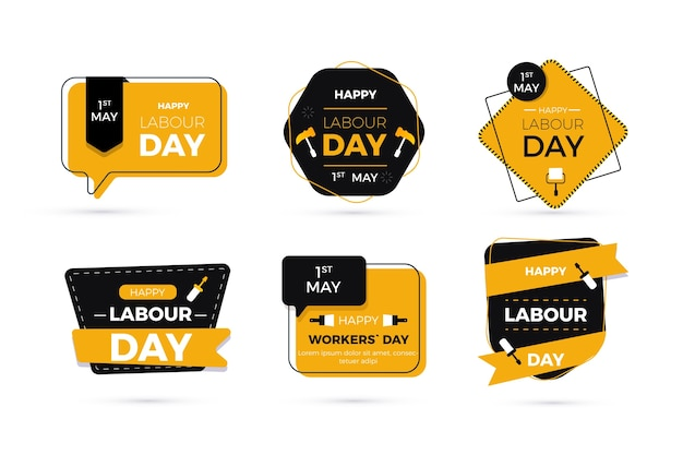 Colección de insignias del día del trabajo de diseño plano