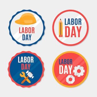Colección de insignias del día del trabajo de ee. uu. dibujadas a mano