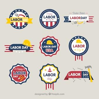 Colección de insignias del día del trabajo de ee.uu. con diseño plano