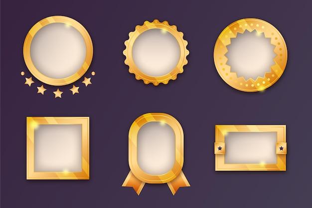 Colección de insignias doradas en degradado
