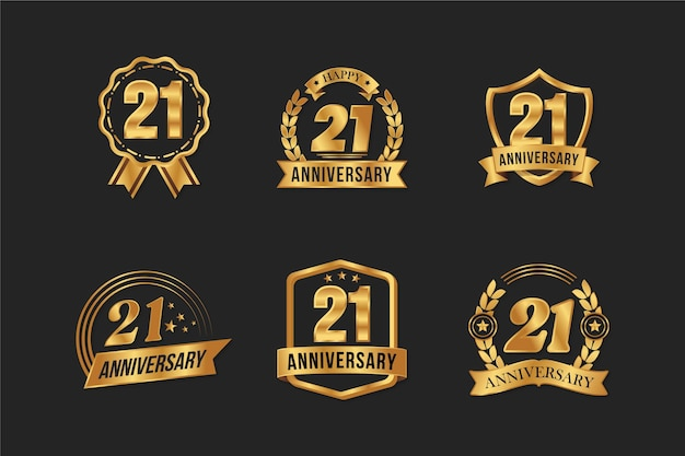 Colección de insignias doradas de diseño plano 21 aniversario