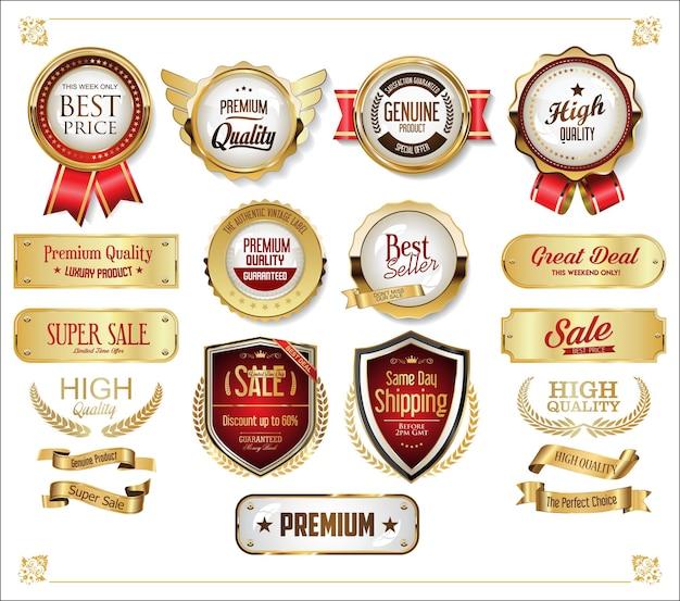 Colección de insignias doradas y etiquetas de diseño retro vintage