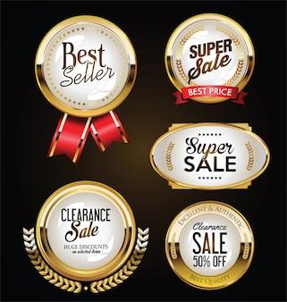 Colección de insignias doradas etiquetas laureles y cintas