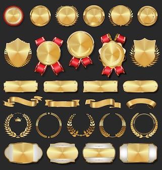 Colección de insignias doradas etiquetas laureles escudo y placas metálicas