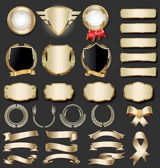 Colección de insignias doradas de lujo