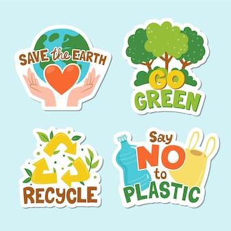 Colección de insignias de ecología dibujadas a mano