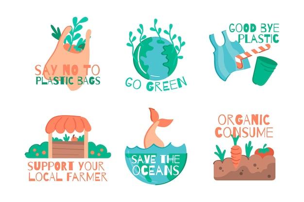 Colección de insignias ecológicas dibujadas a mano
