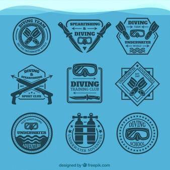 Colección de insignias elegantes de buceo