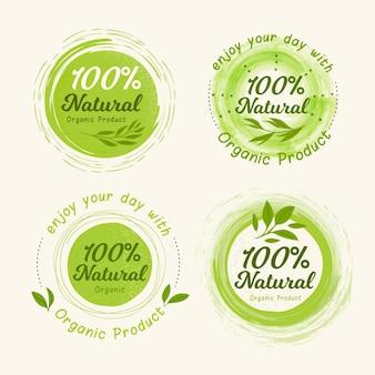 Colección de insignias / etiquetas 100% natural vector gratuito