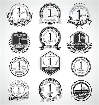 Colección de insignias y etiquetas de aniversario vintage retro